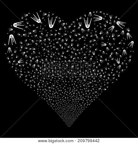 First Satellite fireworks with heart shape. Vector illustration style is flat white iconic symbols on a black background. Object valentine heart organized from random icons.