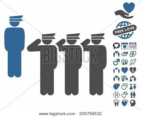 Army pictograph with bonus amour symbols. Vector illustration style is flat iconic cobalt and gray symbols on white background.