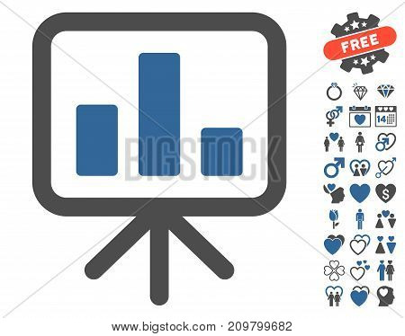 Bar Chart Display icon with bonus romantic icon set. Vector illustration style is flat iconic cobalt and gray symbols on white background.