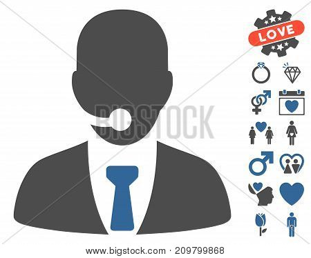 Call Center Manager pictograph with bonus dating images. Vector illustration style is flat iconic cobalt and gray symbols on white background.