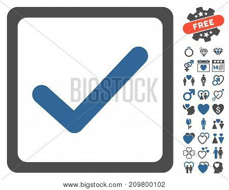 Checkbox icon with bonus amour pictures. Vector illustration style is flat iconic cobalt and gray symbols on white background.
