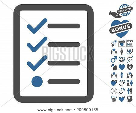 Checklist icon with bonus romantic symbols. Vector illustration style is flat iconic cobalt and gray symbols on white background.