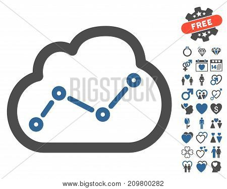 Cloud Trend icon with bonus amour clip art. Vector illustration style is flat iconic cobalt and gray symbols on white background.