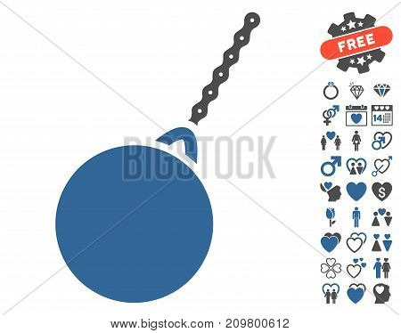 Destruction Hammer pictograph with bonus amour graphic icons. Vector illustration style is flat iconic cobalt and gray symbols on white background.