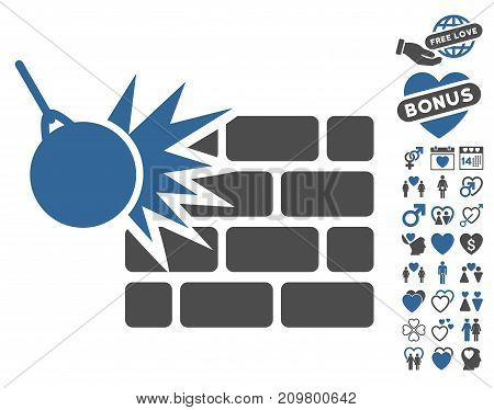 Destruction pictograph with bonus amour pictograms. Vector illustration style is flat iconic cobalt and gray symbols on white background.