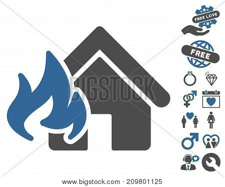 Fire Damage icon with bonus marriage symbols. Vector illustration style is flat iconic cobalt and gray symbols on white background.