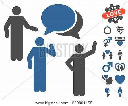 Forum pictograph with bonus amour graphic icons. Vector illustration style is flat iconic cobalt and gray symbols on white background.