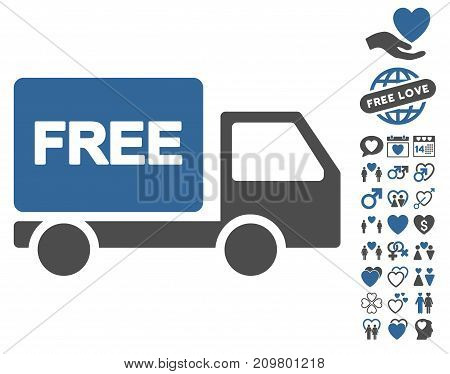 Free Delivery icon with bonus decoration pictograms. Vector illustration style is flat iconic cobalt and gray symbols on white background.