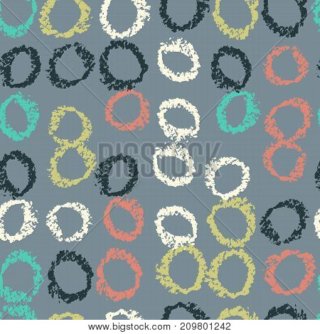 Pattern of circles hand drawn vector sketch. Seamless background hand drawn by wax crayon.