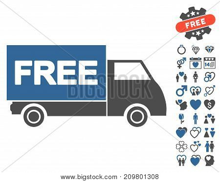 Free Shipment icon with bonus marriage design elements. Vector illustration style is flat iconic cobalt and gray symbols on white background.