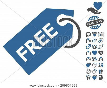 Free Tag pictograph with bonus decoration pictograph collection. Vector illustration style is flat iconic cobalt and gray symbols on white background.