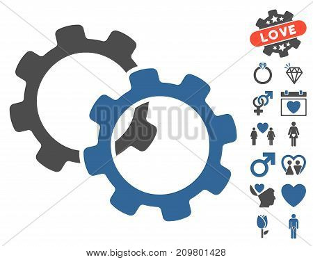 Gears icon with bonus lovely pictograph collection. Vector illustration style is flat iconic cobalt and gray symbols on white background.