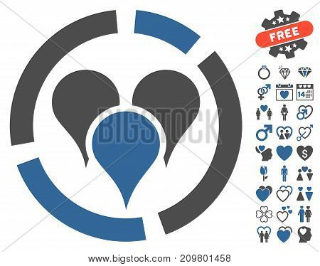 Geo Targeting Diagram icon with bonus romantic pictograms. Vector illustration style is flat iconic cobalt and gray symbols on white background.