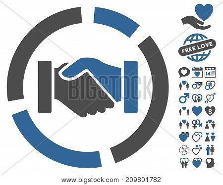Handshake Diagram icon with bonus love graphic icons. Vector illustration style is flat iconic cobalt and gray symbols on white background.