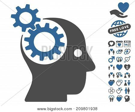 Intellect Gears pictograph with bonus dating pictures. Vector illustration style is flat iconic cobalt and gray symbols on white background.