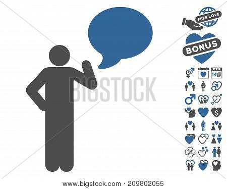 Man Idea Balloon icon with bonus romantic graphic icons. Vector illustration style is flat iconic cobalt and gray symbols on white background.