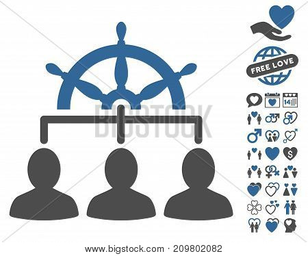 Management Steering Wheel pictograph with bonus amour graphic icons. Vector illustration style is flat iconic cobalt and gray symbols on white background.