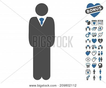 Manager icon with bonus romantic design elements. Vector illustration style is flat iconic cobalt and gray symbols on white background.