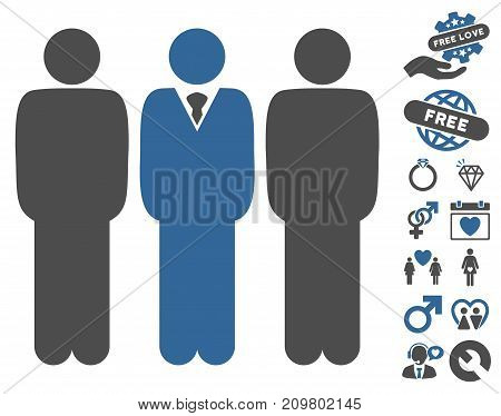 Managers icon with bonus lovely pictures. Vector illustration style is flat iconic cobalt and gray symbols on white background.