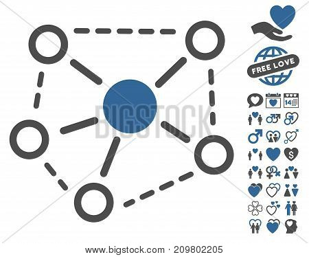 Molecule Links pictograph with bonus dating pictograph collection. Vector illustration style is flat iconic cobalt and gray symbols on white background.