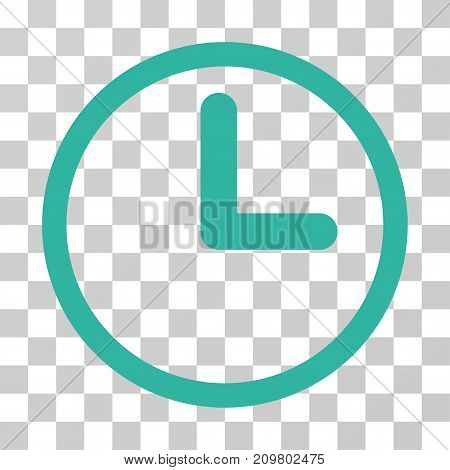 Clock icon. Vector illustration style is flat iconic symbol, cyan color, transparent background. Designed for web and software interfaces.