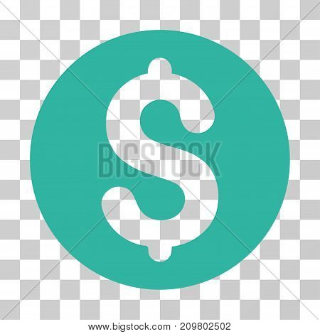 Coin icon. Vector illustration style is flat iconic symbol, cyan color, transparent background. Designed for web and software interfaces.