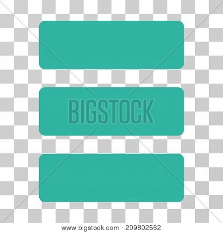 Database icon. Vector illustration style is flat iconic symbol, cyan color, transparent background. Designed for web and software interfaces.