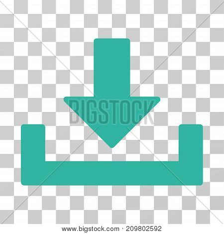 Download icon. Vector illustration style is flat iconic symbol, cyan color, transparent background. Designed for web and software interfaces.