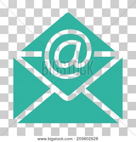 Email icon. Vector illustration style is flat iconic symbol, cyan color, transparent background. Designed for web and software interfaces.