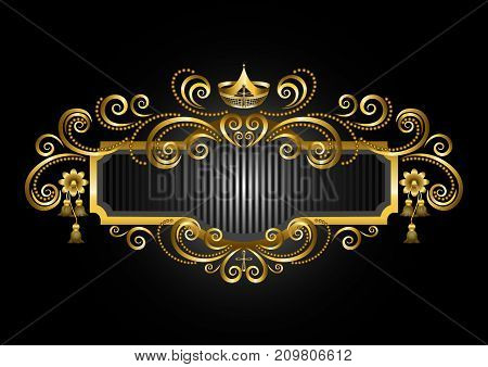 Gold frame in the old style with crown and candelabras and decorations of beads and curls