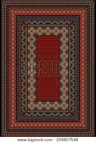 luxurious vintage oriental pattern old carpet with motley ornament on the border and burgundy mid