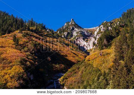 Autumn season in  Kackar Mountains in the Black Sea region of Turkey. Beautiful mountains landscape.