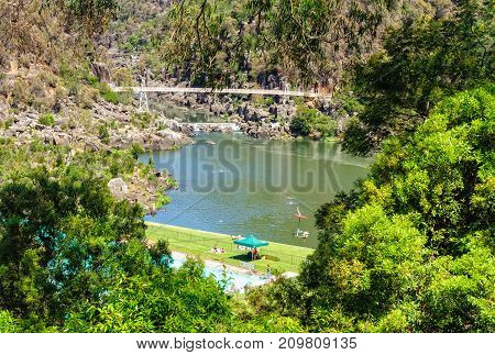 The First Basin in the Cataract Gorge Reserve features a swimming pool a chairlift and a footbridge - Launceston, Tasmania, Australia