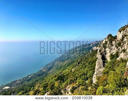Wonderful view of Trieste 's landscape in Italy where the sea meets the mountains in a unique way.