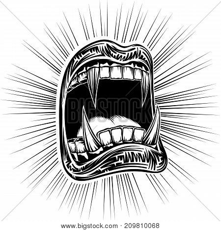 Open mouth with fangs of a toothy vampire on a Halloween. Disclosed jaws with sharp teeth. Vector hand drawing illustration of a tattoo in black ink retro vintage graphic style for a stamping print