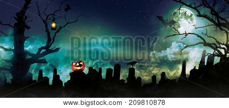 Spooky halloween background with graveyard stones silhouettes, dark horror background. Celebration theme, copyspace for text.