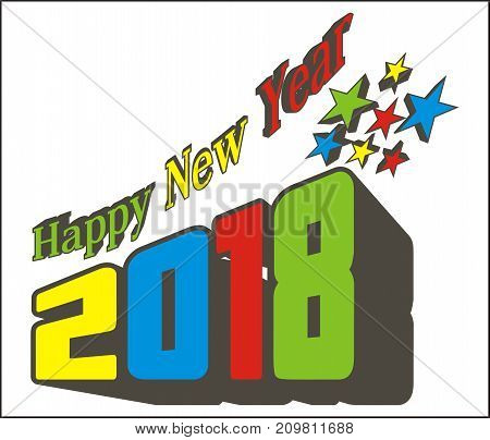 Star Happy New year two thousand eighteen