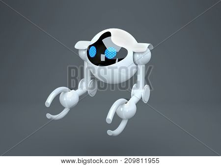 white spherical robot with blue eyes, 3D rendering