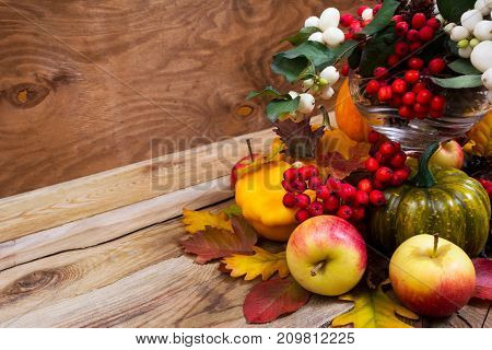 Fall Enterpiece With Rowan Berries, Green Pumpkin, Oak Leaves And Apples, Copy Space