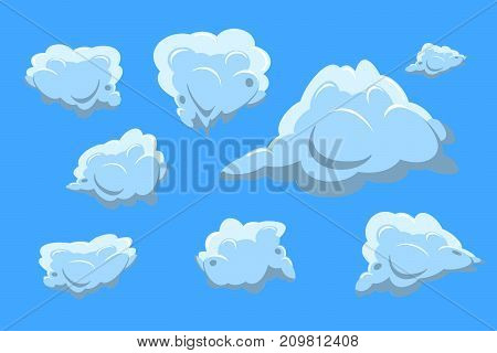 cloud collection set on blue background. Flat design  Illustration