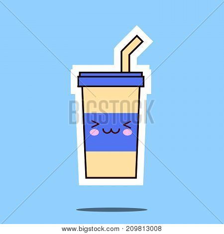 kawaii soda cup character cartoon emoticon face icon. Flat design  Illustration