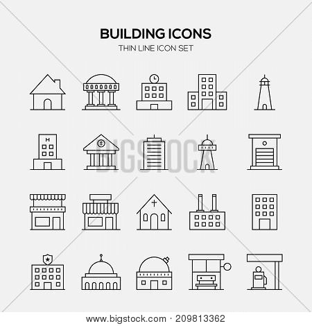Building and real estate icon set outline style vector illustration