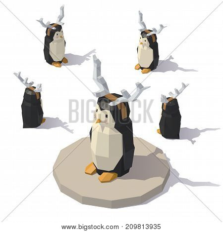 Vector isometric low poly penguin with reindeer antlers. Penguin with reindeer antlers from different angles.
