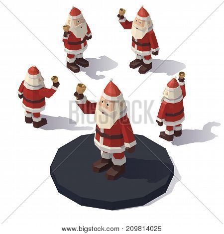 Vector isometric low poly Santa Claus with a bell. Santa Claus from different angles.