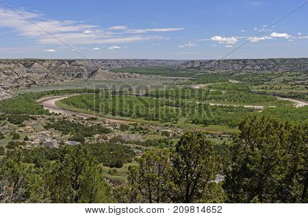 Oxbow Bend in the Little Missouri River in Theodore Roosevelt National Park in North Dakota
