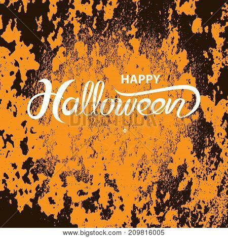 Halloween calligraphy with grunge background.Halloween vector lettering background.Vector illustration.