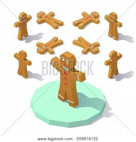 Vector isometric low poly Gingerbread man. Gingerbread man from different angles.
