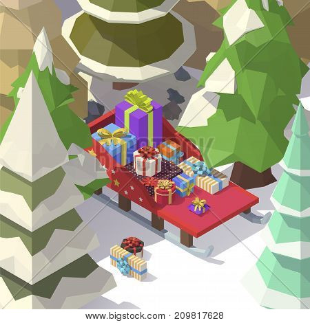 Vector isometric low poly Christmas sleigh with gift boxes in a coniferous forest. Shopping for xmas. Christmas, birthday, holidays concept. Winter landscape of a coniferous forest.