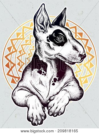 Vintage style beautiful gothic Bull terrier portrait decorated in traditional flash tyle dotwork. Character tattoo design for dog pet lovers, artwork for print, textiles. Isolated vector illustration.