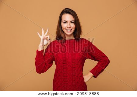 Picture of smiling caucasian lady with okay gesture dressed in sweater standing isolated. Looking camera.